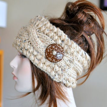 Earwarmer Cabled Ear Warmer Winter Crochet Headband Chunky Ear warmer CHOOSE COLOR Oatmeal Honey Beige Natural Warm Hair Band Christmas Gift