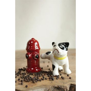 Hand Painted Dog & Fire Hydrant Shaped Salt & Pepper -- Shaker Set