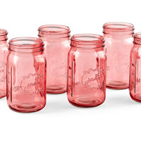 Mason Jars, Pink, Set of 6, Kitchen Canisters, Canning & Spice Jars