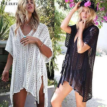 Beach Cover Up Bikini Crochet Knitted Tassel Tie Beachwear