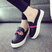 GUCCI Slip-On Women Fashion Casual Leather Flats Shoes
