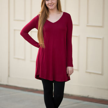 Burgundy V-Neck T-Shirt Dress