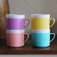 Vintage Bolero Thermoware Coffee Mugs Cups Set of 4 Pastel