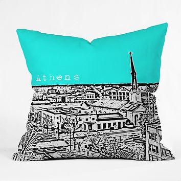 Bird Ave Athens Aqua Throw Pillow
