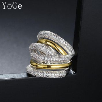 LMFTZ3 YoGe R7963Y Luxury AAA cubic zirconia micro pave setting big multi-layered full finger ring,copper base Two tone colour
