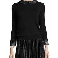 Lynda Wool Lace-Trim Pullover Sweater, Black, Size: