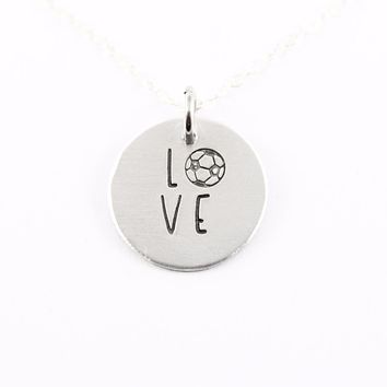 Soccer Love Necklace - Sterling Silver