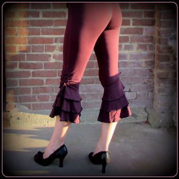 Ruffle Capri Pants Bloomers ~ Steampunk Belly Dance Burning Man Festival Clothing ~ Tango Dance Pants ~ Hooping Yoga Wear 3 colors