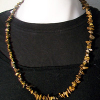 Vintage Tigers Eye Tumbled Chip Necklace Brown Retro Jewelry Boho Chic