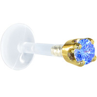 """16 Gauge 1/4"""" Solid 14KT Yellow Gold 3mm Arctic Blue Cubic Zirconia Bioplast Tragus Earring Stud 