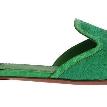 Green Brocade Crocodile Flat Sandals