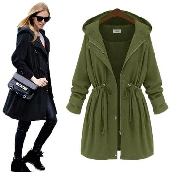 XL-4XL 2016 Long Thin Belt Turn-Down Collar Hooded Trench Coat New Spring Hoodies Women Slim Fashion Jackest Trench