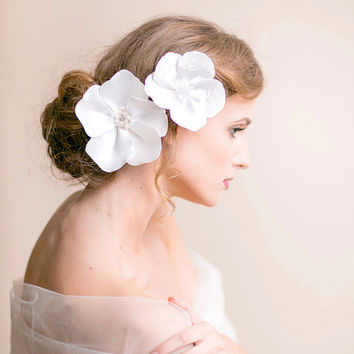 Bridal Hair Accessory Flower Clips - Bridal Hair Piece with Lace and Freshwater Pearls - Wedding Hair Piece - Statement Headpiece
