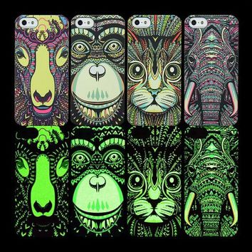 So Cool Animal Night King Luminous Light Up Handmade iPhone Cases for 5S 6 6S Plus Free Shipping
