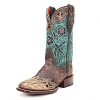 Dan Post Women's Cowgirl Certified Bluebird Square Toe Sanded Cowgirl Boots DS - Cowgirl Boots - Boots