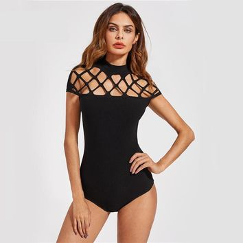 Square Cut Out Sexy Black Women Bodysuit Mock Neck Slim Cap Sleeve Casual