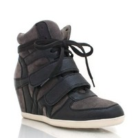 Combo High-Top Wedge Sneakers
