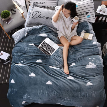 gray black and white thick fleece bedding set queen king size for kids adults winter warm duvet cover set bed sheet