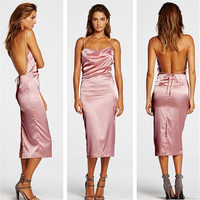 Sexy Pink Silk Backless Dress