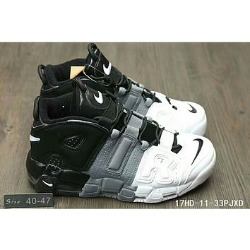 Nike Air More Uptempo men and women casual fashion shoes F-HAOXIE-ADXJ Black + gray + white letters