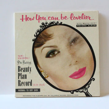 BEAUTY PLAN RECORD, Vintage Du Barry Beauty Plan, How you can be lovlier, makeup application guide, vintage beauty routine guide record