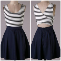 A Criss Cross Skater Dress in Navy