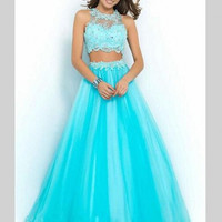 Long Lace Two 2 Piece Prom Dresses Tulle Beaded Crystal Prom Women Evening Dresses Party for Graduation Promdress galajurken