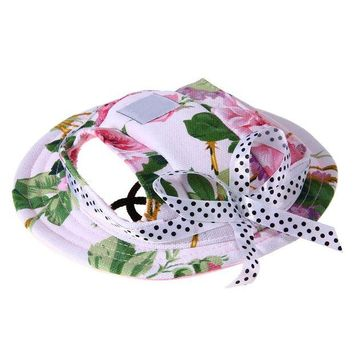 LMF78W 1pc Summer Breathable Mesh Pet Dog Sun Hat Princess Beach Hat With Ear Hole for Small Pet Dogs Summer Dog Products Pink