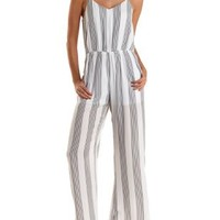 Striped Strappy Wide Leg Jumpsuit by Charlotte Russe