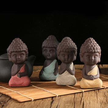 1PC Cute Meditation Mini Buddha Statue Monk Figurine Tathagata India Yoga Mandala Sculptures Decorative Ornaments Pottery Crafts