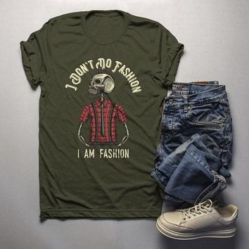 Men's Hipster Skull T Shirt I Am Fashion Funny Graphic Tee Plaid Flannel