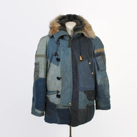 Vintage 70s BILL WHITTEN Parka / 1970s Rare Custom Made Patchwork LEVI'S Denim N-3B Coat