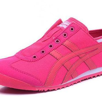 MDIGY4E asics Japan Onitsuka Tiger. Pink Women's Running Shoes Sneakers Trainers