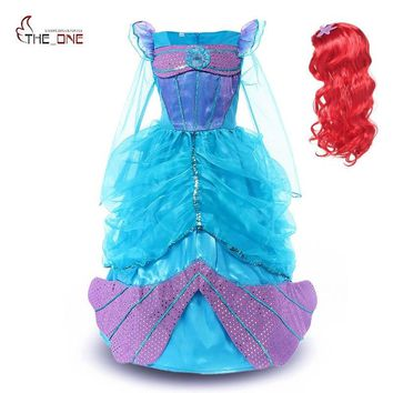 MUABABY Little Girls Mermaid Dress up Clothes Kids Long Sleeve Sequins Princess Ariel Party Cosplay Costume Halloween Ball Gown