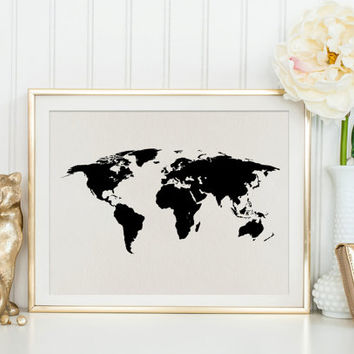 WORLD MAP,Black World Map,Classroom Decor,Trendy Art,Map State,World Map Art Print,Digital Poster,Wall Art,Map Art Print,Classroom Print