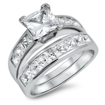 Sterling Silver CZ 1 carat Princess Cut Wedding Ring Set Size 4-10