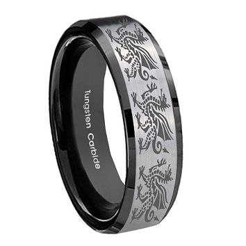 10mm Multiple Dragon Beveled Brushed Silver Black Tungsten Mens Bands Ring