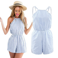 Vertical Stripe Backless Cutaway Jumpsuit [6259227396]