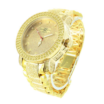 Mens Canary Stainless Steel Watch Diamond Dial Gold Tone Khronos Watch