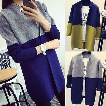 Women Lady Casual Clothes Outfits Sweaters Coat Loose Casual Knitted Long Sleeve Tops Cardigan Outwear Coat Sweaters New
