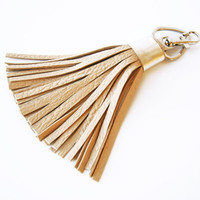 Large Leather Tassel White or Beige Leather Bag Charm Tassel Keychain Accessorie For Bag Tassel Charm