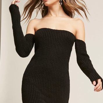 Ribbed Knit Off-the-Shoulder Mini Dress