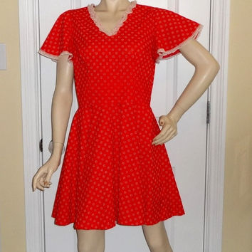 1970s Vintage Home Sewn Square Dance Dress in Red Flocked Fabric with Lace Trim, Size 12-14, Cap Sleeve, Vintage Square Dance Costume Dress