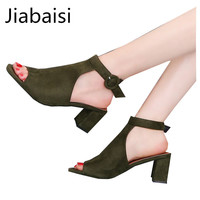 Jiabaisi shoes Women sandal middle High Heel closed toe Faux suede fabric Retro Square heel sandal Elegant solid Concise Shoes