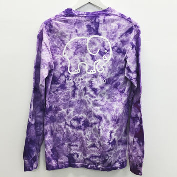 Purple Super Cute Tie Dye Elephant Print Long Sleeve Shirt