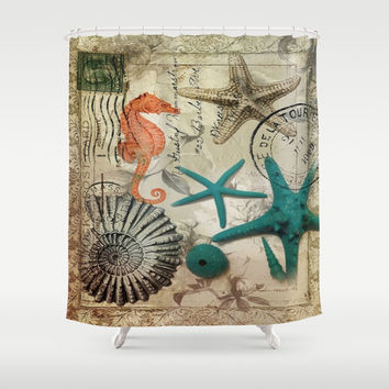 modern elegant seashells beach decor art Shower Curtain by Chicelegantboutique