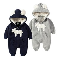 2017 new Baby Clothes Baby Romper Thickened Autumn And Winter Lovely  Climb Clothes  Newborn Baby Boys girls Clothes