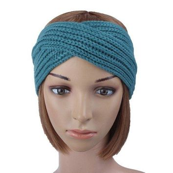 Women Girl Crochet Knit Cross Wide Headband Wool Hair Accessories