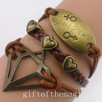 diamond,boys and girls with,&love heart charm Bracelet Antique bronze--wax cords braid leather bracelet--friendship gift 753