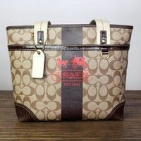 Coach Signature Print Shoulder Bag